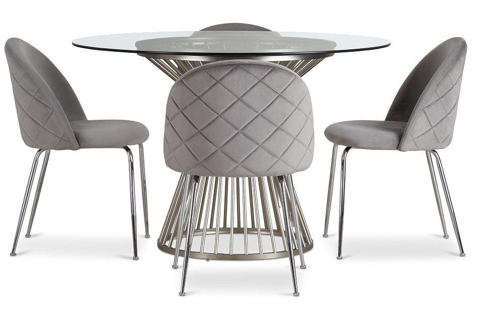 Munich Silver Glass Table & 4 Gray Upholstered Chairs