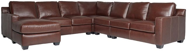 Carson Medium Brown Leather Large Left Chaise Sectional (0)