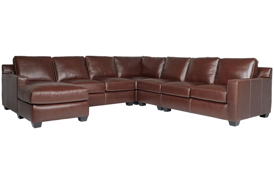 Carson Medium Brown Leather Large Left Chaise Sectional