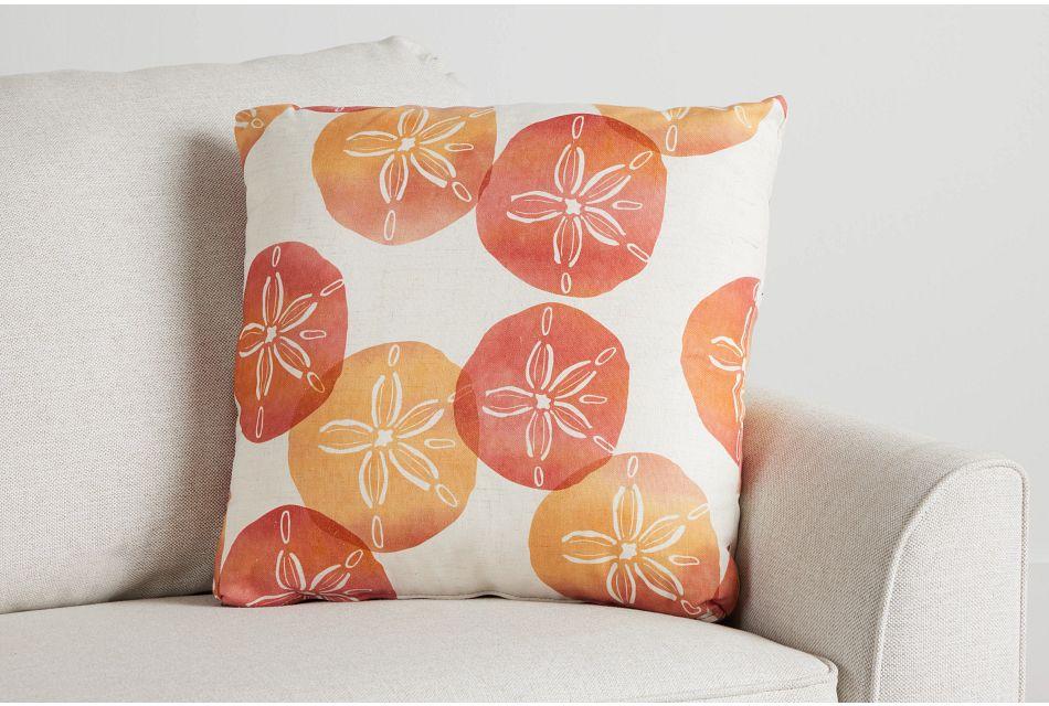 "Sand Dollar Orange Fabric 20"" Accent Pillow,  (0)"