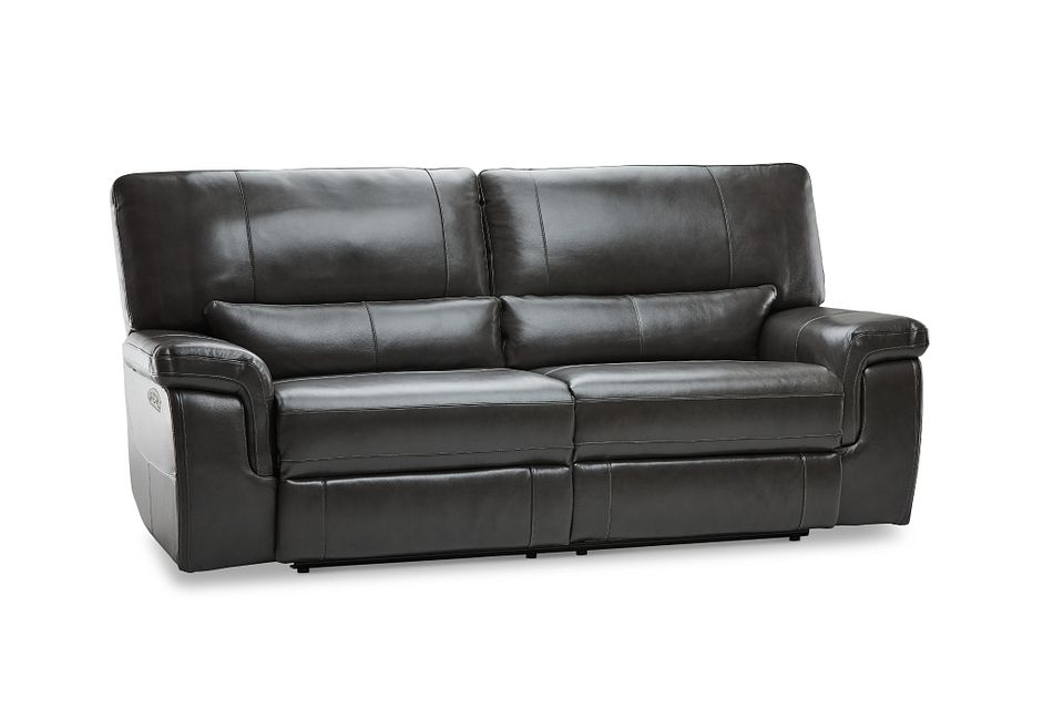 Weston Dark Gray Lthr/vinyl Power Reclining Sofa