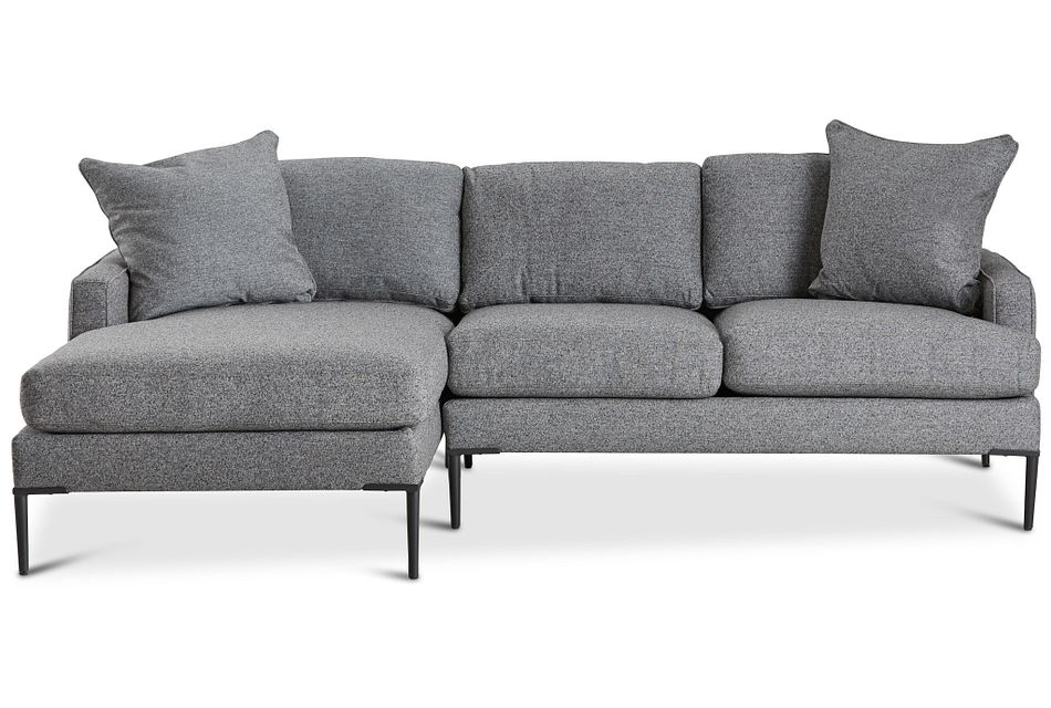 Morgan Dark Gray Fabric Small Left Chaise Sectional W/ Metal Legs