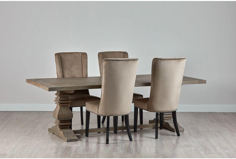 """Hadlow Gray 95"""" Table & 4 Velvet Chairs"""
