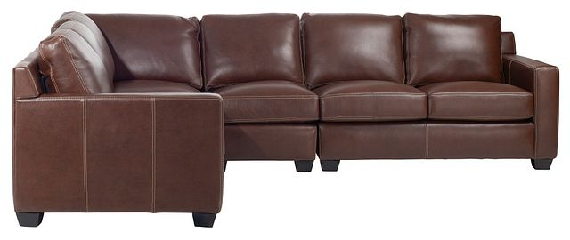 Carson Medium Brown Leather Medium Two-arm Sectional (1)