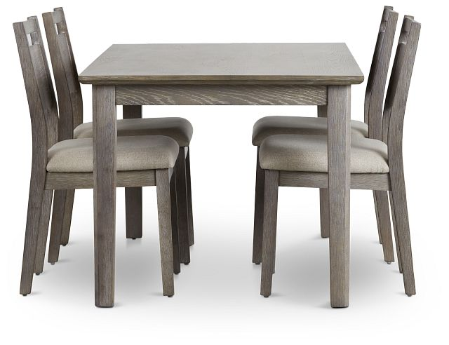 Rockville Light Tone Rect Table & 4 Upholstered Chairs (3)