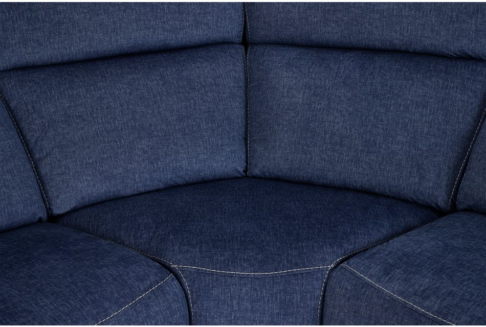Beckett Dark Blue Micro Large Dual Power Reclining Two-arm Sectional