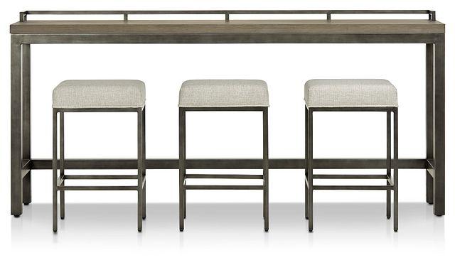 Zephyr Gray High Table & 3 Barstools (1)