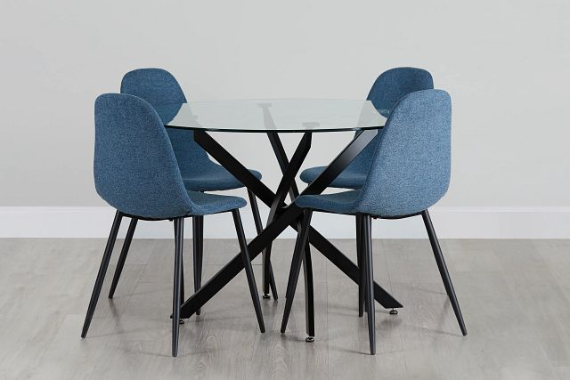Havana Black Blue Round Table & 4 Upholstered Chairs (0)