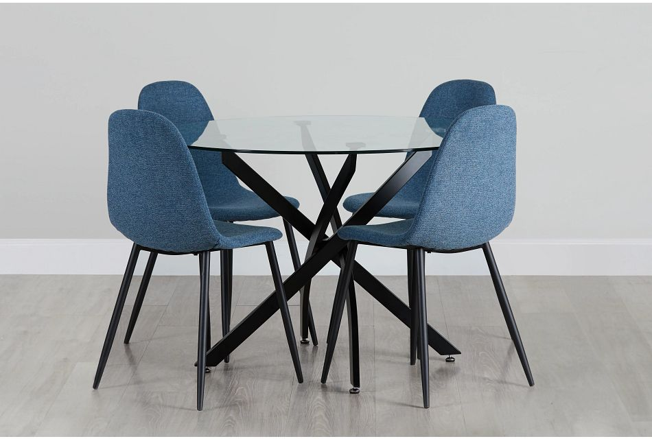 Havana Black Blue Round Table & 4 Upholstered Chairs