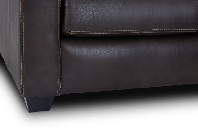 Carson Dark Brown Leather Right Bumper Sectional