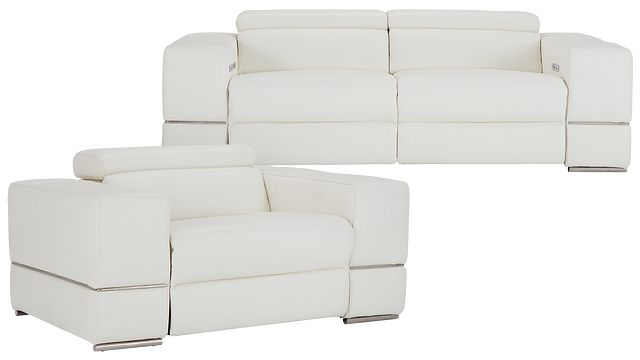 Dante White Leather Power Reclining Living Room