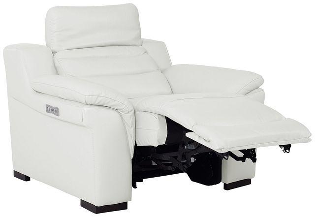 Sentinel White Lthr/vinyl Power Recliner With Power Headrest (1)