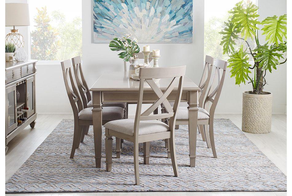 Marina GRAY  Table & 4 Wood Chairs,  (1)
