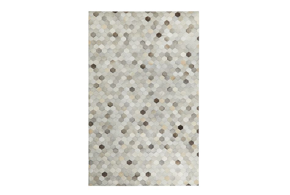 Corbit Light Gray Leather 5x8 Area Rug