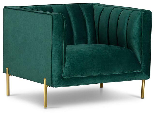 Bella Dark Green Velvet Chair (1)