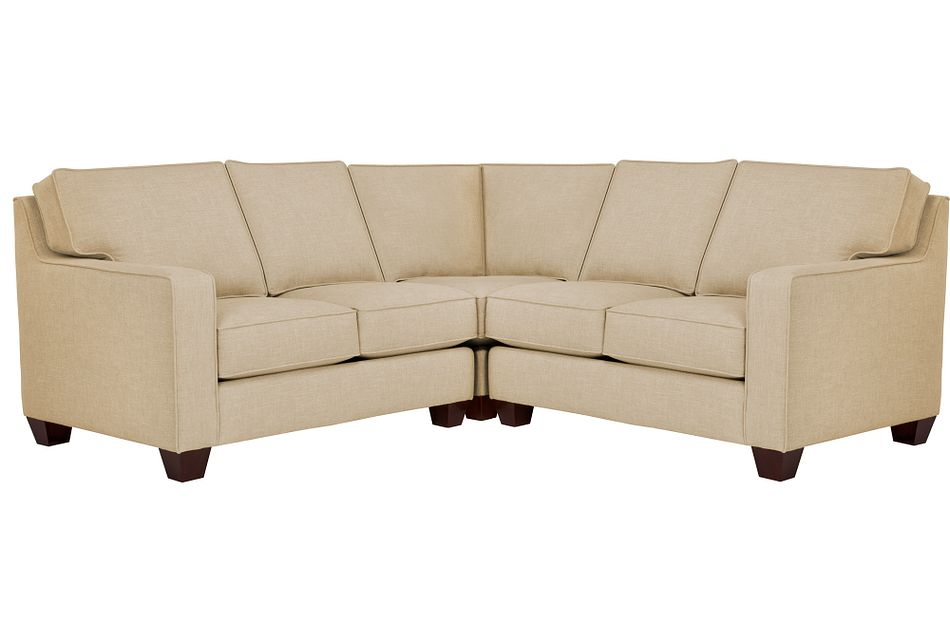York Beige Fabric Small Two-arm Sectional