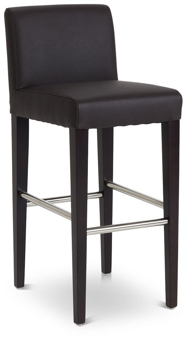 "Cane Dark Brown Micro 30"" Upholstered Barstool (1)"