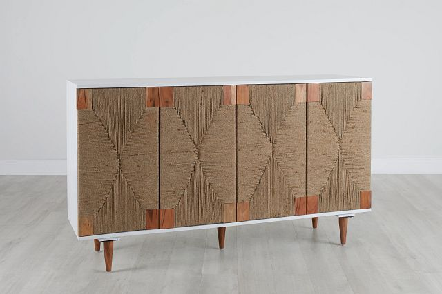 Woven Two-tone Four-door Cabinet