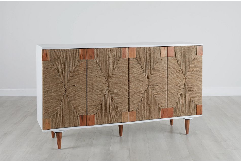 Woven Two-Tone Four-Door Cabinet,  (0)
