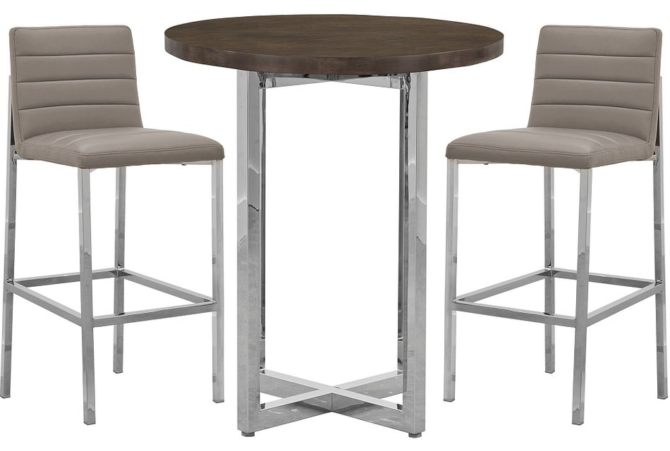 Amalfi Taupe Wood Pub Table & 2 Upholstered Barstools