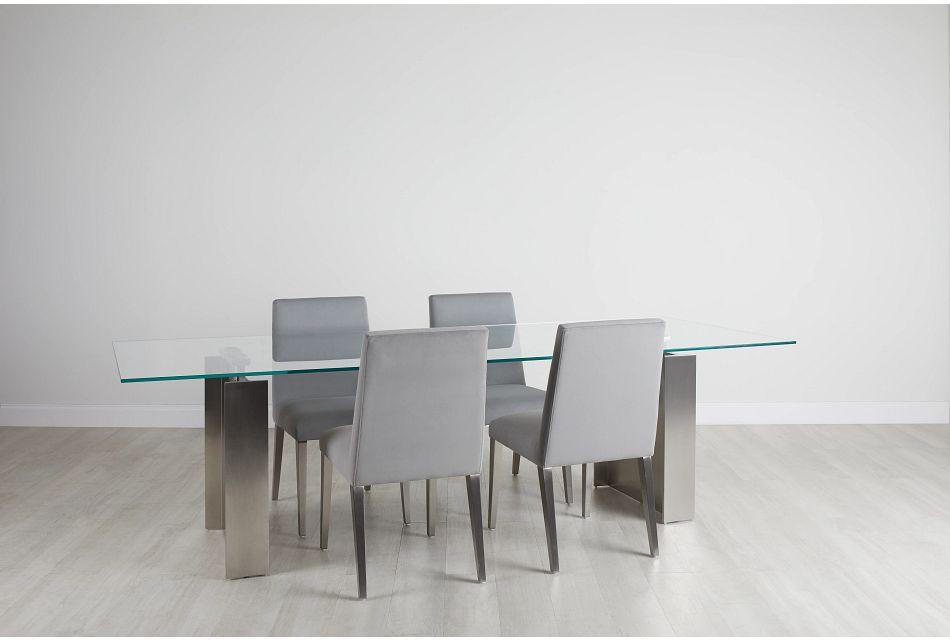 "Omnia Glass 104"" Rectangular Table & 4 Metal Chairs,  (0)"