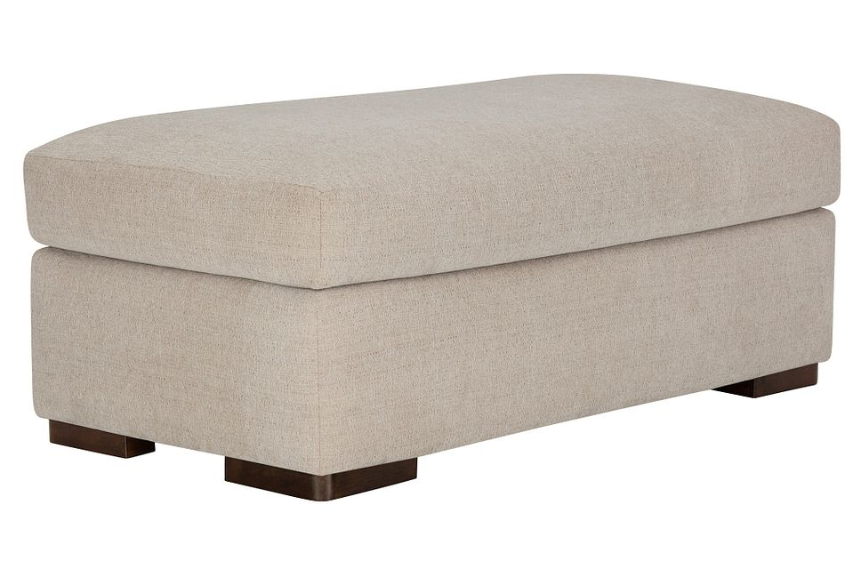 Belair Light Taupe Fabric Large Ottoman