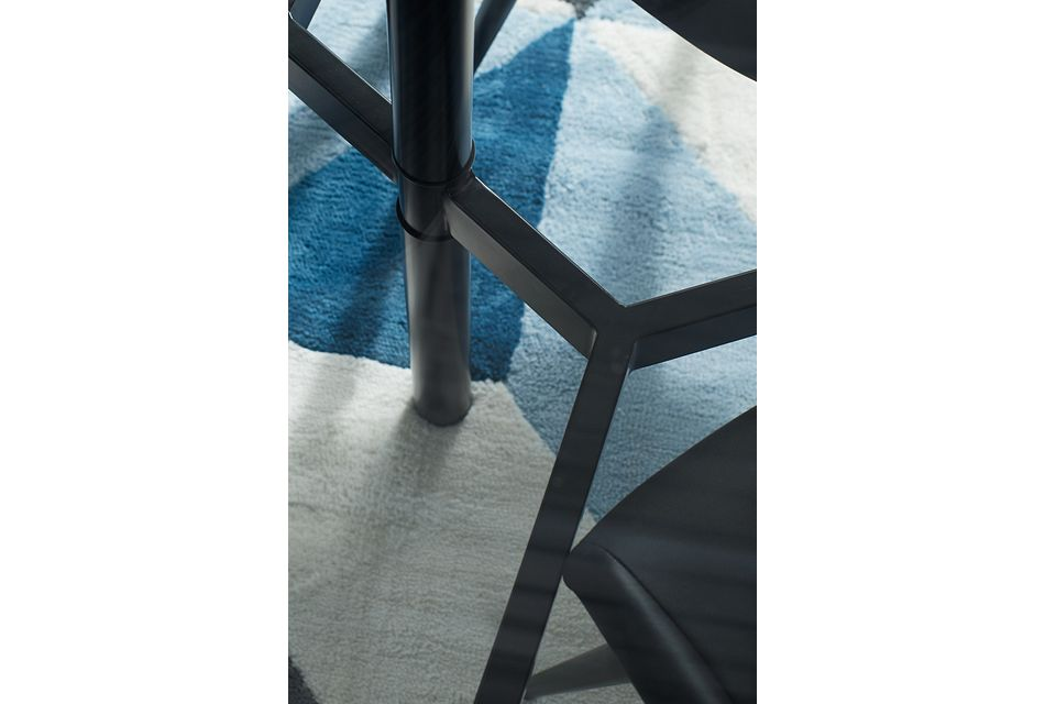Lemans Black Glass Table & 4 Upholstered Chairs
