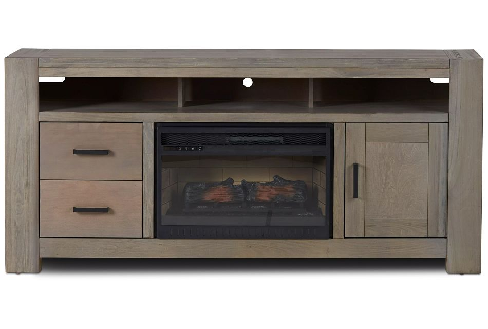 """Empire Gray 72"""" Tv Stand With Fireplace Insert"""