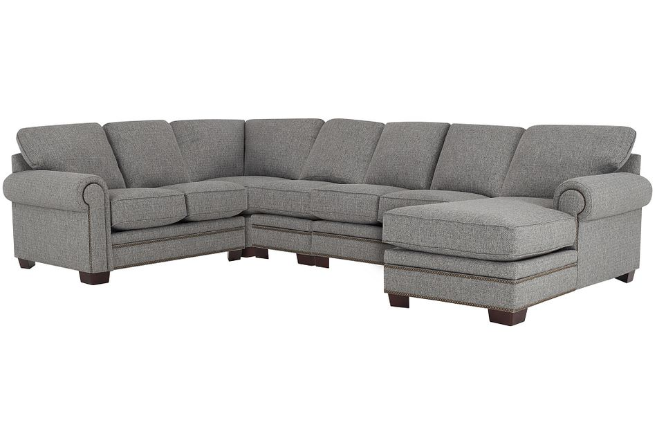 Foster Gray Fabric Large Right Chaise Sectional