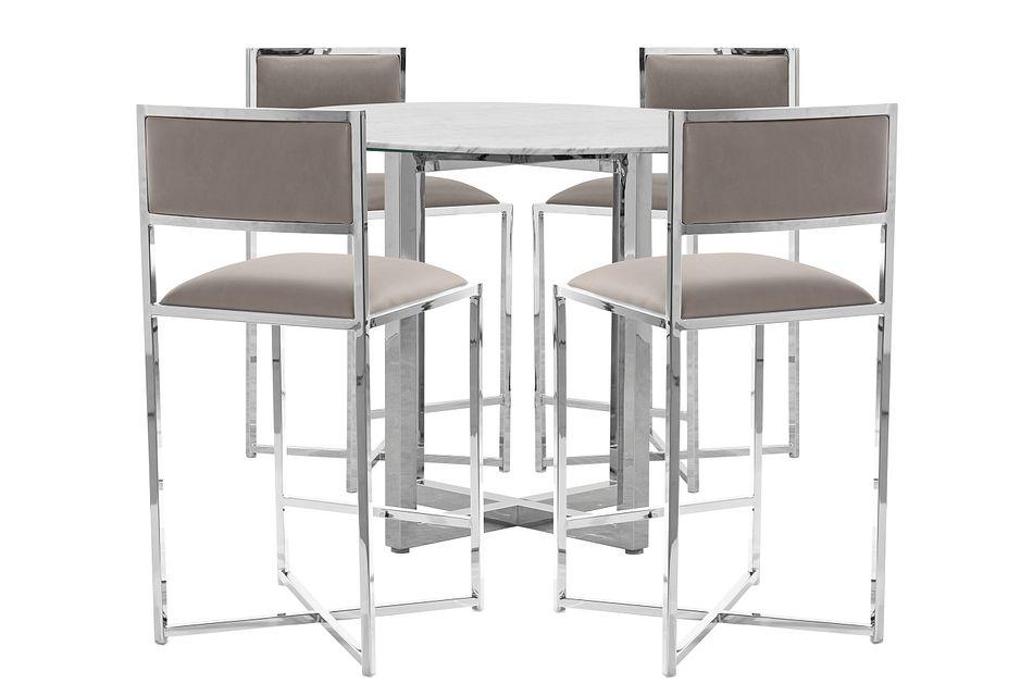 Amalfi Taupe Marble High Table & 4 Metal Barstools