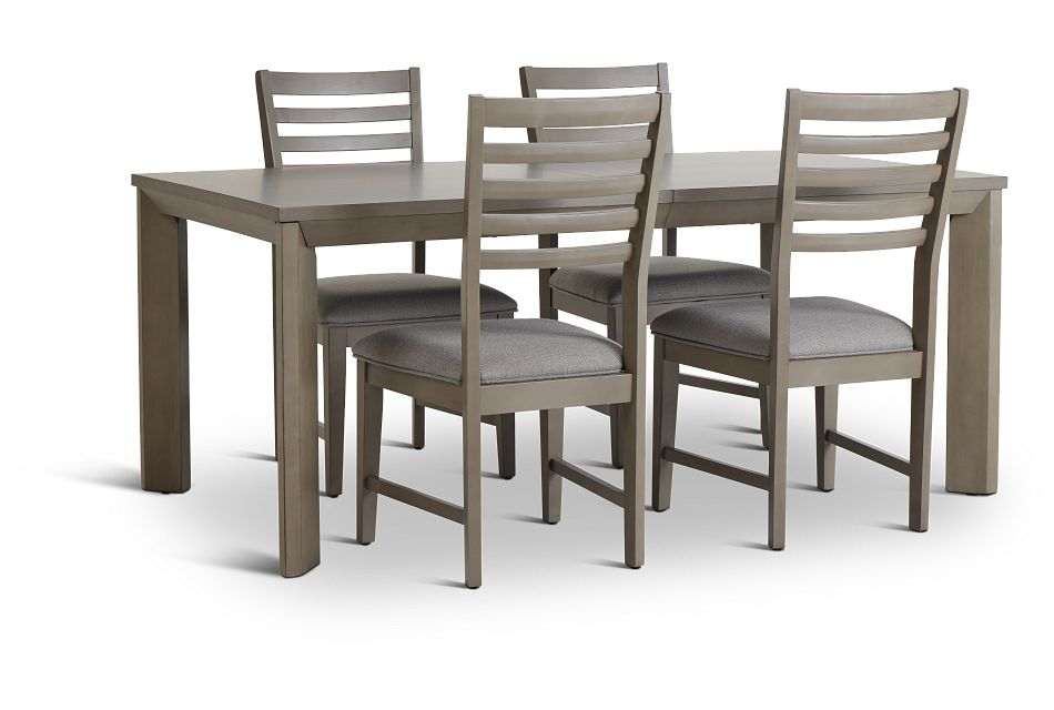 Zurich Gray Rect Table & 4 Slat Chairs