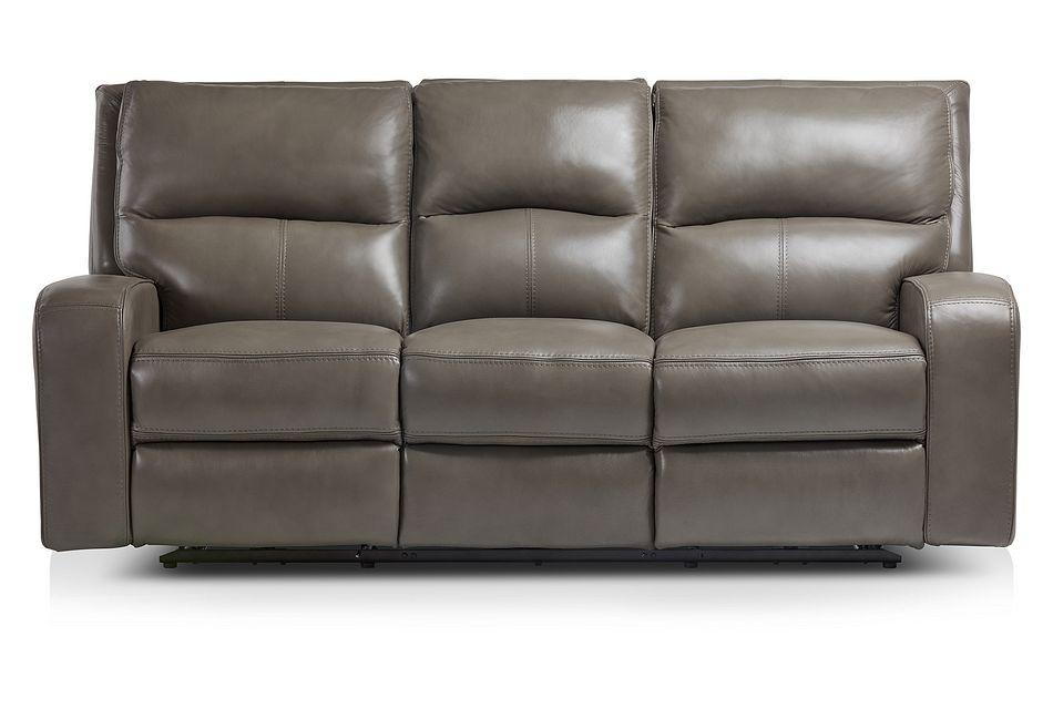 Declan Dark Gray Lthr/vinyl Power Reclining Sofa