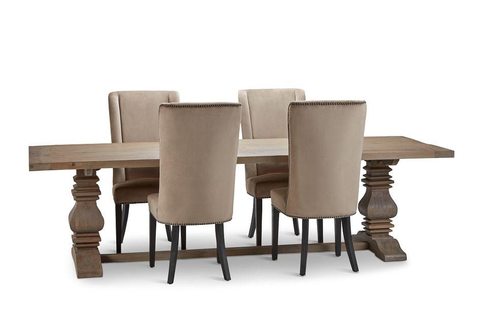 """Hadlow Gray 110"""" Table & 4 Velvet Chairs"""