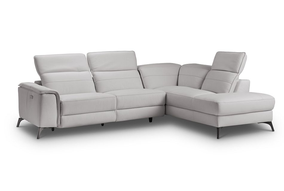 Pearson GRAY LEATHER Right Bumper Power Reclining Sectional