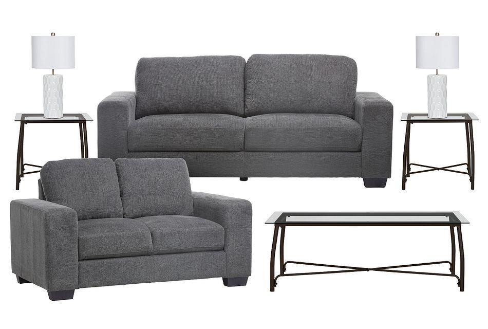 Estelle Dark Gray  Fabric Living Room
