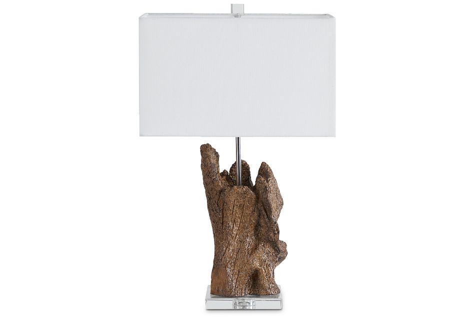 Iris Wood Polyresin Table Lamp,  (1)