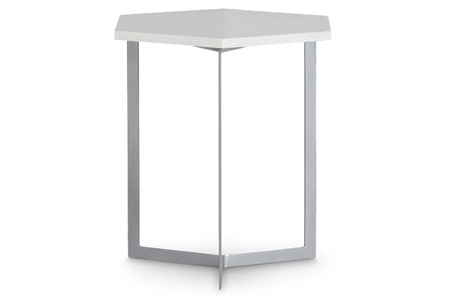 Mandie Silver Marble Accent Table
