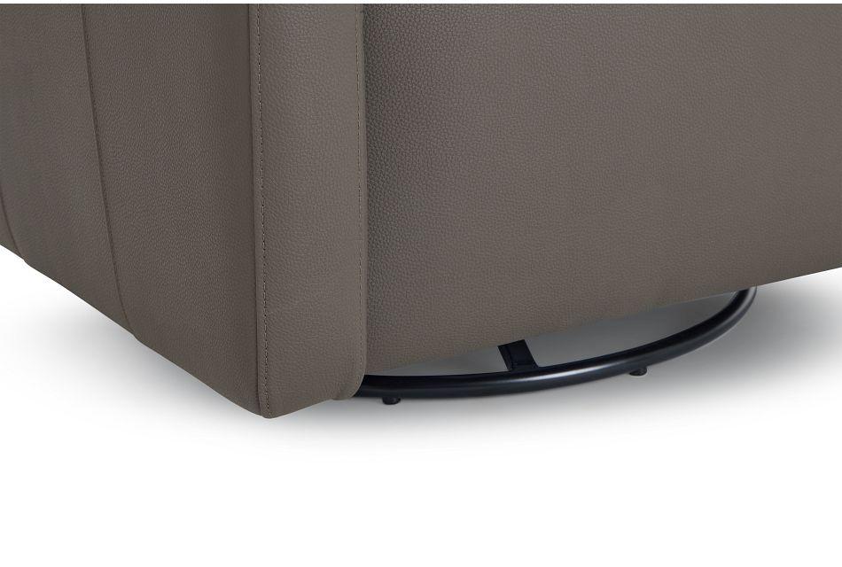 Axis Dark Gray Vinyl Swivel Accent Chair