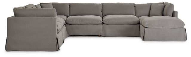 Raegan Gray Fabric Large Right Chaise Sectional (2)