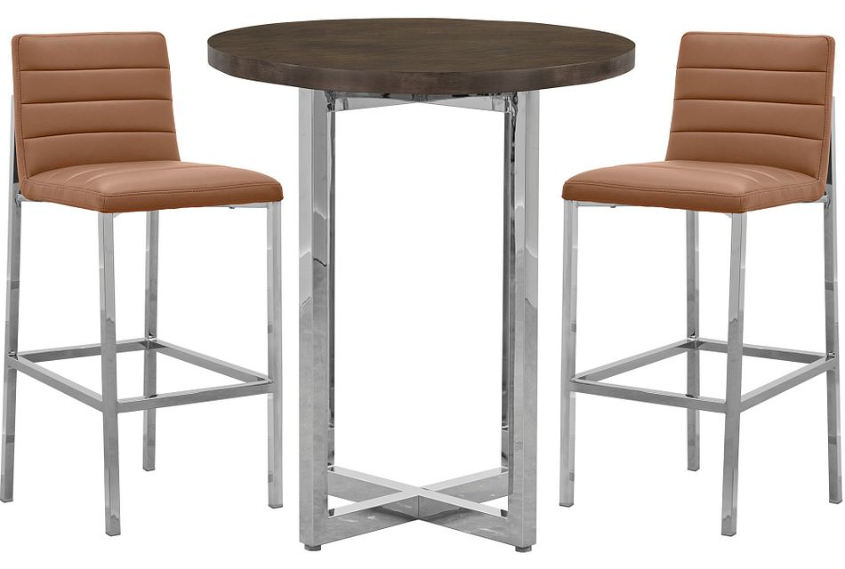 Amalfi Brown Wood Pub Table & 2 Upholstered Barstools