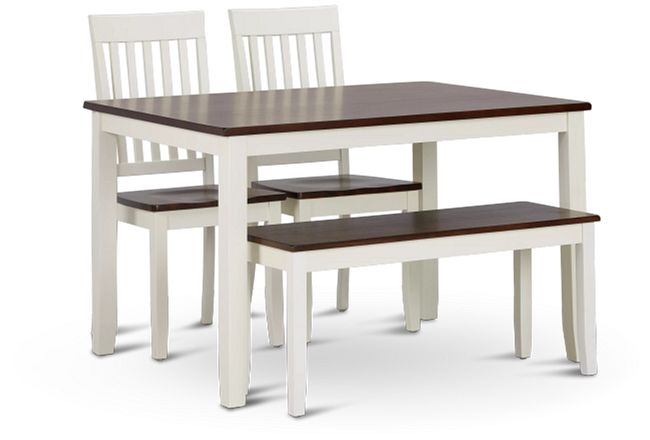 Santos White Two-tone Table, 2 Chairs & Bench