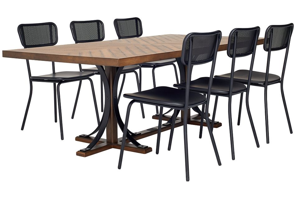 Iron Trestle Black Rect Table & 4 Chairs