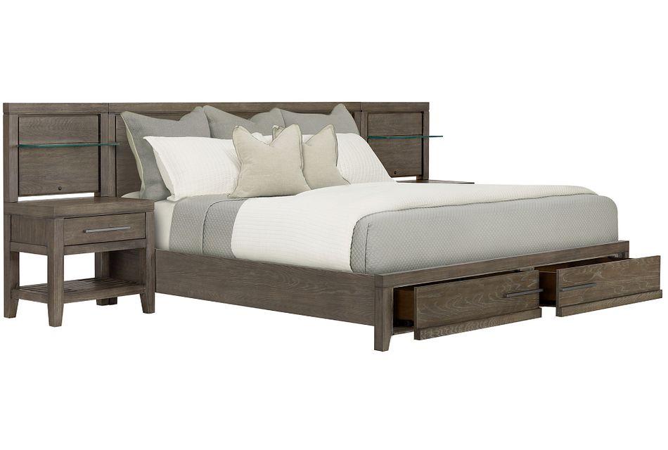 Bravo Dark Tone Wood Spread Storage Bed