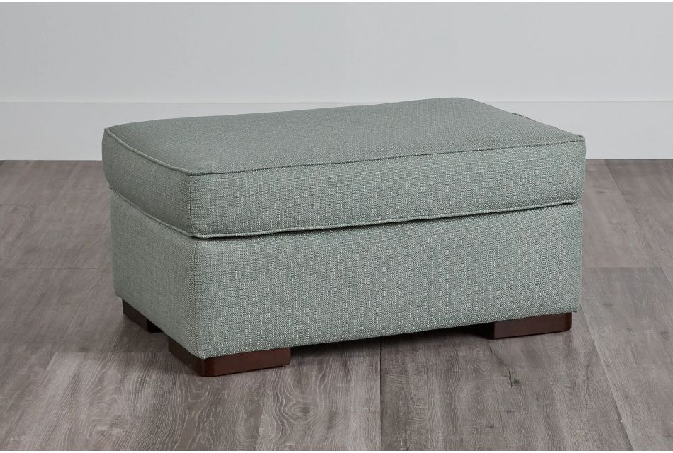 Austin Green Fabric Ottoman,  (0)