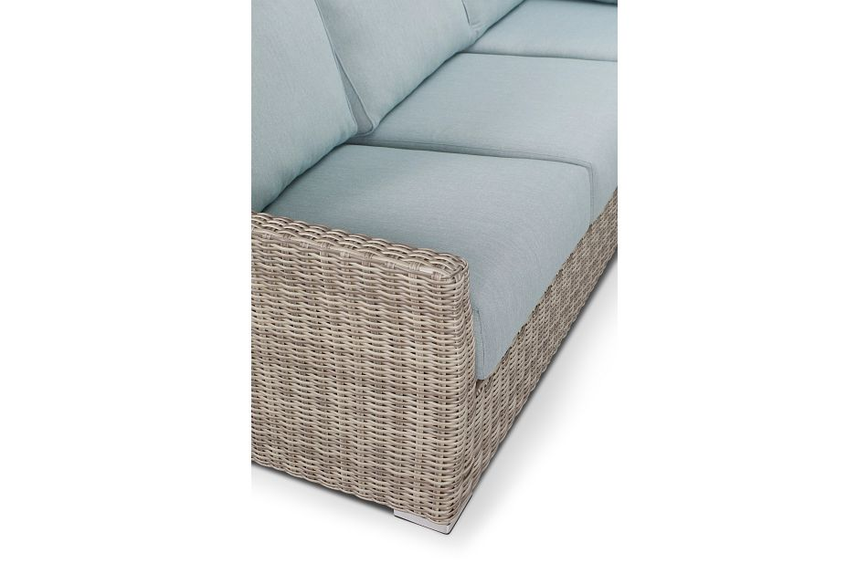Raleigh Teal Woven Small Two-arm Sectional