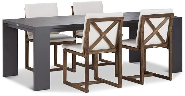 """Linear Dark Gray White 87"""" Aluminum Table & 4 Teak Cushioned Side Chairs (0)"""