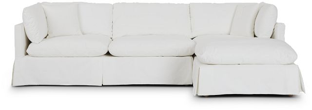 Raegan White Fabric Right Chaise Sectional