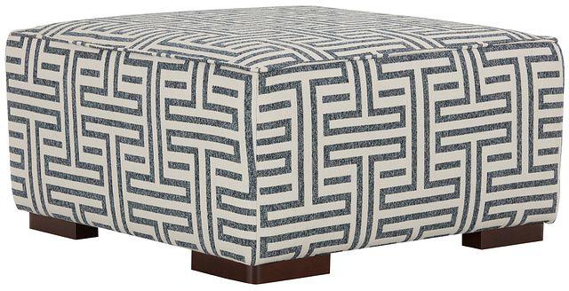 Doric Blue Fabric Accent Ottoman (1)
