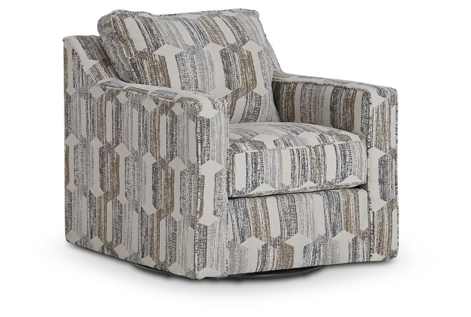 Millie Gray Fabric Swivel Accent Chair,  (1)