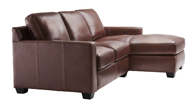 Carson Medium Brown Leather Small Right Chaise Sectional (1)